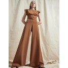 ALAMINA JUMPSUIT BROWN | Libelloula women fashion and accessories