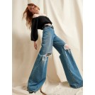 GIACOMO DISTRESSED LIGHT BLUE JEANS  | Libelloula women fashion and accessories