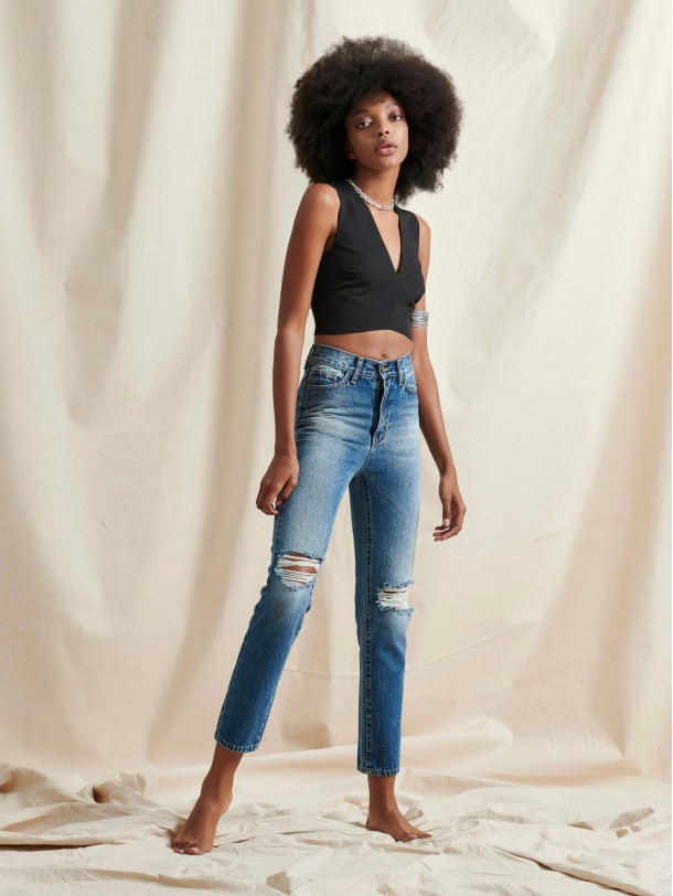 TIMOTHY DISTRESSED DENIM BLUE | Libelloula women fashion and accessories