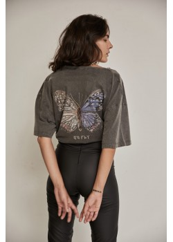 BUTTERFLY GREY V NECK T-SHIRT | Libelloula women fashion and accessories
