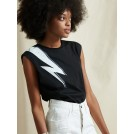 LIBELLOULA BLACK TOP WITH WHITE THUNDER | Libelloula women fashion and accessories