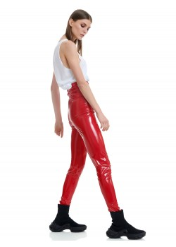KYLEE RED HIGHWAIST LEGGINGS Pants